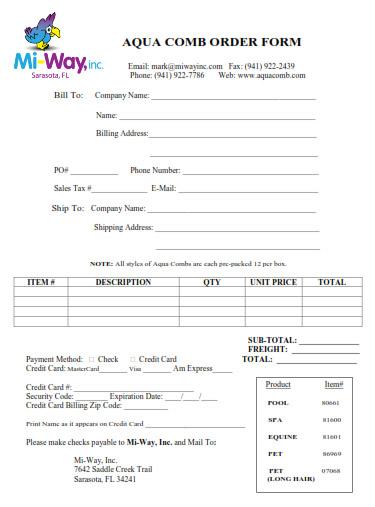 Aaqua Comb Retailers Order Form